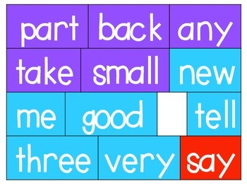Colorful Word Wall Words!