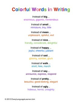 Colorful Words in Writing
