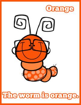 Colorful Worms Flash Cards; Kindergarten; Preschool; Homeschool; Bulletin Board