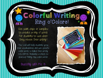 Colorful Writing Ring o' Colors Freebie!: Grow your writing vocabulary!