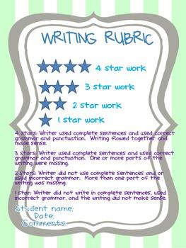 Colorful Writing Rubric
