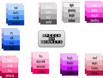 Colorful Writing with Colorful Synonyms- Paint Chip Clip Art