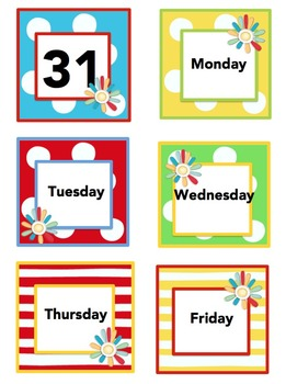 Colorful Yearly Calendar