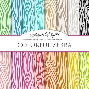 Colorful Zebra Digital Paper safari scrapbook backgrounds zebra stripes