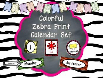 Colorful Zebra Print Calendar Set