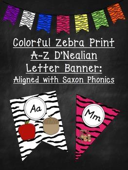 Colorful Zebra Print D'Nealian Letters A-Z