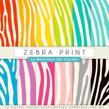 Colorful Zebra Stripes Digital Paper, scrapbook backgrounds