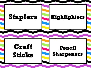 Colorful ZigZag Classroom Labels