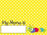 Colorful and Cute Bug Name Tags