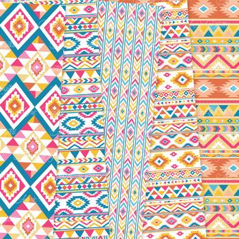Colorful aztec Digital Paper arrows tribal patterns scrapbook background
