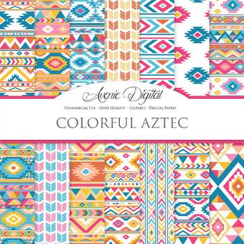 Colorful aztec Digital Paper arrows tribal patterns scrapb