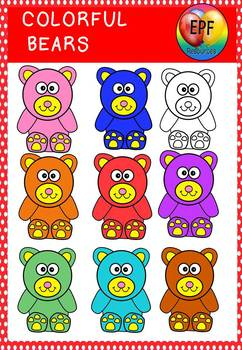 Colorful bears clipart.