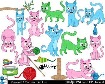 Colorful cats pink blue green Digital Clip Personal Commer