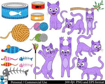 Colorful cats red purple yellow ClipArt Personal Commercial Use 58 images cod156