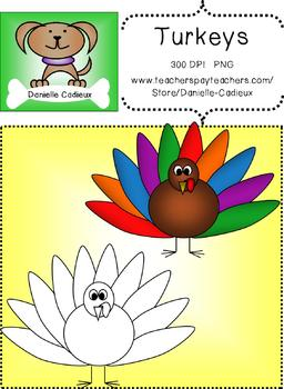 Colorful feathers turkey Clip Art