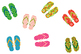 Colorful flip flops clipart, Cute summer beach sandals, Po