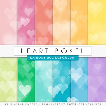 Colorful heart Bokeh Digital Paper, scrapbook backgrounds.