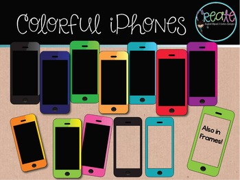 Colorful iPhones - Digital Clipart