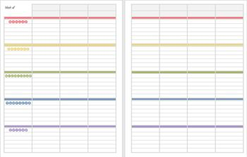 Colorful lesson plan pages