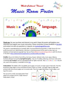 Colorful, Multi-cultural Themed Poster: Music is a World-w