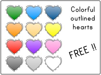 Colorful outlined hearts - FREE clip art
