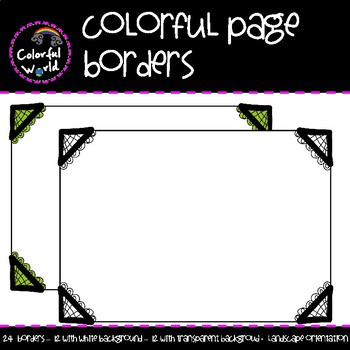 Colorful page borders by Colorful World | Teachers Pay Teachers