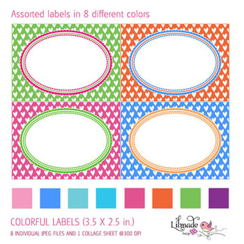 Colorful printable labels, place cards, taks cards