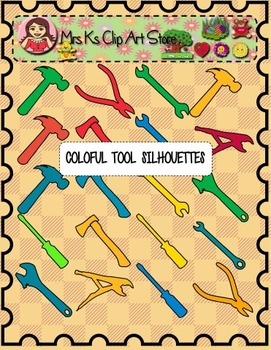 Colorful tool silhouettes clip art