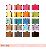 Colorful travel suitcases clipart, Vintage journey luggage, Retro vacation bag
