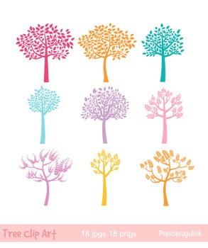 Colorful tree silhouettes clipart , Tree of life clip art,