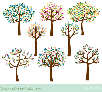 Colorful trees clip art, Trees with leaves clipart, Leafy color tree spring