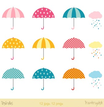 Colorful umbrellas clipart with rainy clouds and raindrops