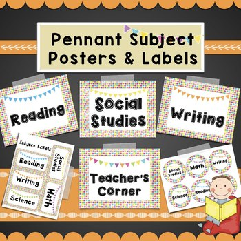 ColorfulSubject Posters-Math, Reading, Writing, SocialStudies, Science