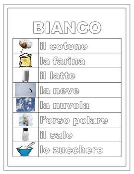 Colori (Colors in Italian) Word Wall