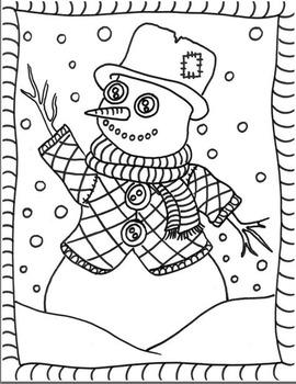 Coloriage d'hiver: Révision langage plastique, GRATUIT