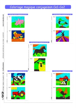 Coloriage magique conjugaison Ce1-Ce2