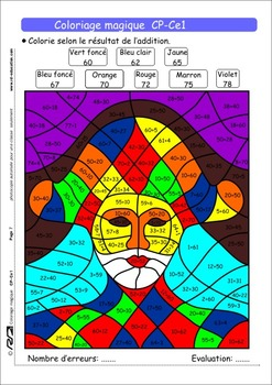 Coloriage Niveau Cp.Coloriage Addition Worksheets Teaching Resources Tpt