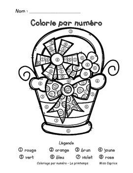 Coloriage par numéro et mot - Maternelle - Miss Caprice