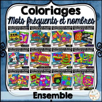 Coloriage des mots fréquents et des nombres - Ensemble grandissant