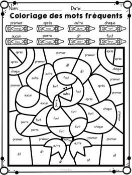Coloriage des mots fréquents et des nombres - L' Action de Grâce -Color by code