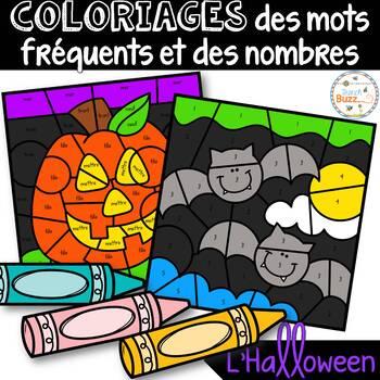 Coloriage des mots fréquents et des nombres - L'Halloween -French Color by Code