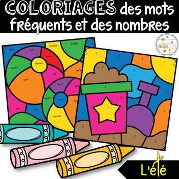 Coloriage des mots fréquents et des nombres - L'été - French Color by Code