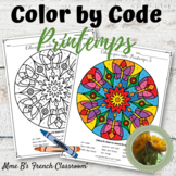 Colorie par Code: French Color by code Le Printemps mandala