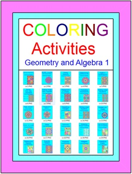Coloring Activities Growing BUNDLE (For Personal Use 170+) Geometry & Algebra