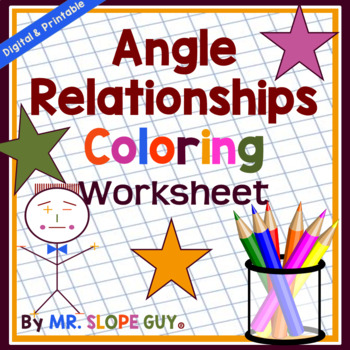 Angle Relationships Coloring Activity Geometry PDF Worksheet Go Math 8.G.A.5