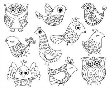 Coloring Activity - Cute Doodle Birds Clip Art