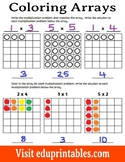 Coloring Arrays, Multiplication Facts up to 5x5