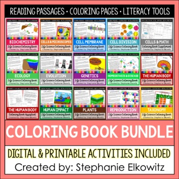 Life Science Biology Coloring and Literacy Bundle by Stephanie Elkowitz