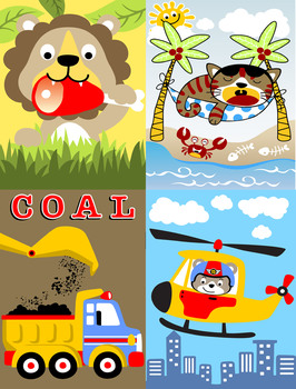 Coloring Book for kids :Trucks,Planes ,Cars & Animales ,cartoon - Activity book