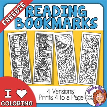 Reading Bookmarks to Color - Free! by Rachel Lynette | TpT